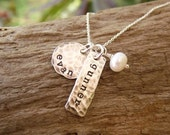 Mother Necklace Two Kids Names Stamped Sterling Silver Distressed Tags
