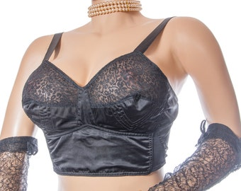 Traditional 50's vintage long line soft cup bra - 'Susa' silky black nylon and delicate lace cup detail elasticated back bra - SB50