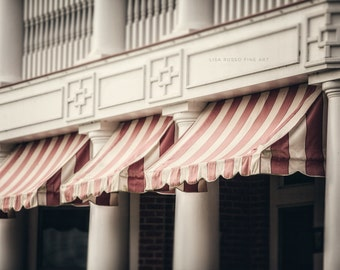 Hotel Cafe Awning Print or Canvas Wrap, Chautauqua Institution, Red, Pink, Cream, French Country Decor, Shabby Chic Decor, Large Wall Art.