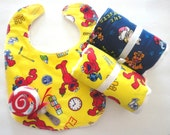 ON SALE Sesame Street Theme Baby Gift, Bib, Burps, Washcloth Lollipop and More, Gift Wrapped
