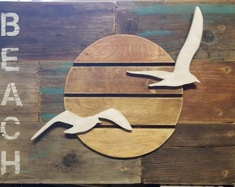 Reclaimed Wood Beach Seagull Art