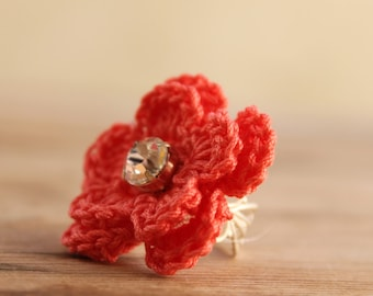 Crochet Ring - Coral flower crocheted ring - Delicate Flower Ring - Jewellry crocheted