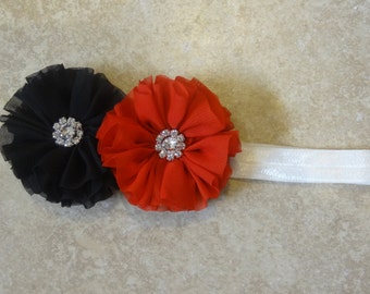 Red and Black chiffon flower headband