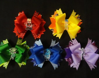 Inside out inspired bows, set of 5 includes Anger, Joy, Disgust, Sadness, and Fear