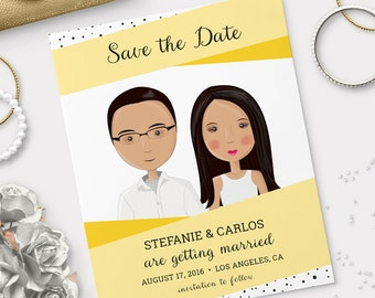 Dotted Love - Save the Date Wedding Portrait Illustration
