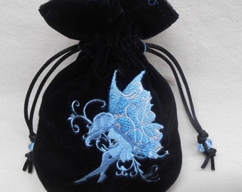 BLUE FAIRY - Velveteen Drawstring Pouch with Machine Embroidery - Dice Bag, Tarot, Wristlet