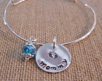 Handstamped Bangle Bracelet, Sterling Disc Mothers Bracelet, Bangle Birthstone Bracelet