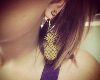 Wood Pineapple Dangle Earrings