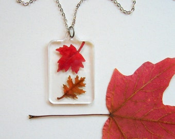 Two Autumn Leaves - Real Autumn Leaves Woodland Necklace - botanical jewelry, real leaves, Autumn necklace, oak, maple, leaf, woodland, ooak