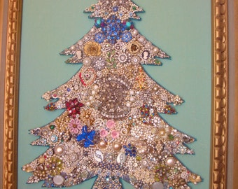 Vintage Rhinestones Pearls Jewelry Tree Framed ART Large Home Decor Mid Century Cottage Chic