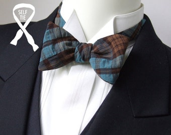 "Men's bow tie,  plaid - petrol blue / chocolate colours - tie it yourself - adjustable to collar size 14 to 18 1/2"" -  self-tie for men."