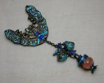 Antique Chinese Brooch: Kingfisher Enamel & Rose Quartz, Lucky Bat. Chinese Hallmark, Silver