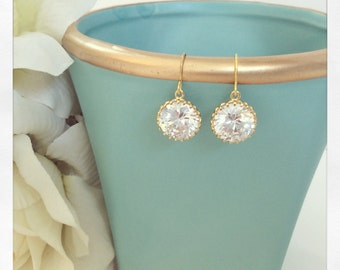 Gold Earrings, CZ Earrings, Bridesmaids Gift, Bridesmaid Earrings, birthday gift Best Friend Gifts, Gifts for Mom, girlfriend gifts
