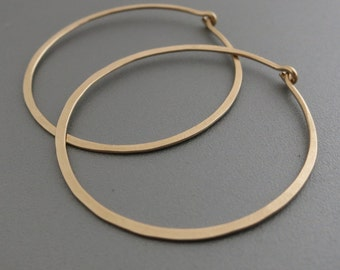 14K Gold Filled Hoop Earrings  Gold Hoops 1.5 inches
