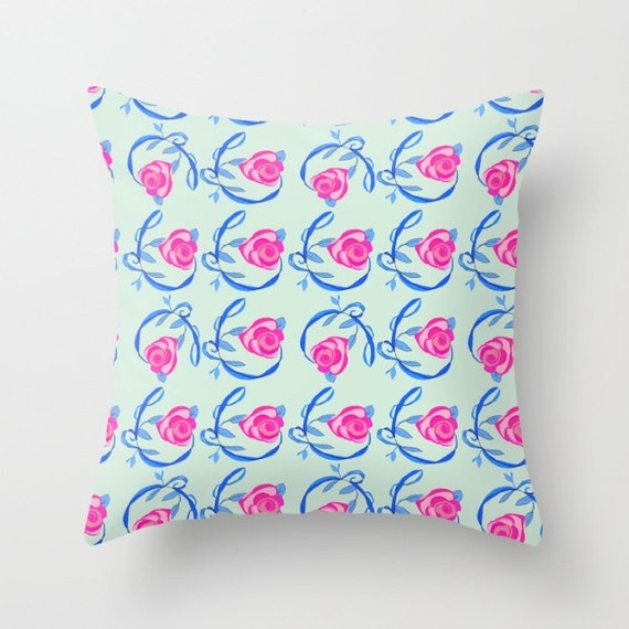 Indoor Throw Pillow Cover, Pink Roses and Royal Blue Vines pillow cover