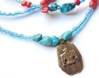 First People Turquoise Coral Eagle Warrior Waistbeads