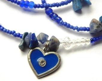 Waist Beads, Lapis Lazuli Blue Heart Waistbeads