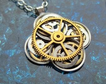 "Clockwork Flower Necklace ""Acharius"" Elegant Recycled Watch Parts Gear Pendant Mechanical Plant Balance Wheel Petals Valentine's Day"
