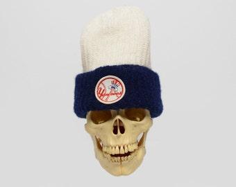 vintage 70s 80s Yankees ski cap knit hat winter hat New York Yankees MLB baseball beanie blue white hat 1970 1980 vintage hat