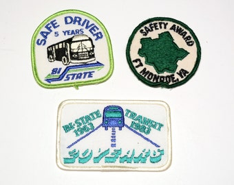 vintage 60s 70s 80s bus driver safety award patch lot Bi-State Transit Ft Monroe VA US military driver Safe Driver sew iron on patch