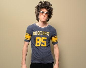 vintage 70s Ridgecrest football jersey athletic sport shirt blue yellow #85 85 1970 tee t-shirt 100% cotton Champion medium M