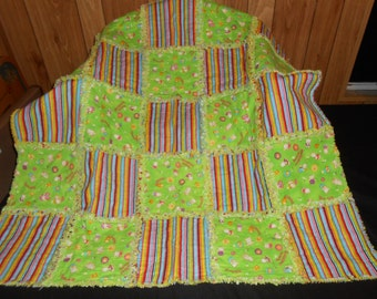 Raggedy Rag Flannel Baby Toddler Quilt Blanket Lime Green Teddy Bear Chicks Flowers Stripes