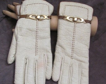 Vintage Ivory Leather Soft Lined Ladies Warm Winter Gloves (01M)