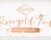 Rose Gold Foil Design Elements - Shapes & Brush Strokes - Rosegold clip art - Copper Foil Clipart