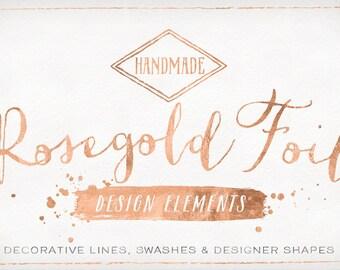 Rose Gold Foil Design Elements - Shapes & Brush Strokes - Rosegold clip art - Copper Foil Clipart
