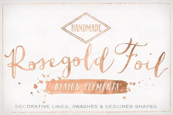Rose Gold Foil Design Elements Shapes Amp Brush Strokes