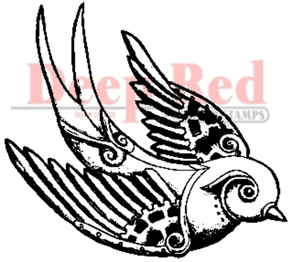 deep red rubber stamp steampunk sparrow by dragonflyswhisper. Black Bedroom Furniture Sets. Home Design Ideas