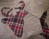 Oh Deer! - Plaid Deer Sweatshirt - Wide Neck Sweatshirt with Elbow Patches- Soft and Comfortable - Plaid Deer