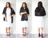 Vintage faux fur coat // boho fur shawl // wedding dress shawl // dark brown fur coat // faux fur coat // short fur coat // shoulder cover