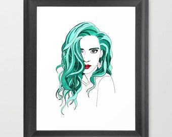 Rainbow-Haired Girls Art Print