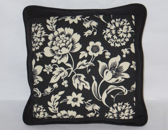 Black And Ivory Throw Pillows : Black & Ivory Floral Throw Pillow Reversible Houndstooth