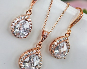 Cubic Zirconia Crystal Drop Wedding Earrings and Necklace Set, Bridal Jewelry Set, Bridesmaids Jewelry Set, Mother of the Bride, Accessories