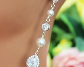 Long Dangle Crystal Wedding Earrings, Cubic Zirconia Bridal Earrings, Bridesmaids Earrings, Tear Drop Crystal Earrings, Pearl Drop Earrings