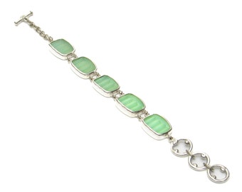 Broken China Jewelry Fire King Jadeite Light Green Sterling Bracelet