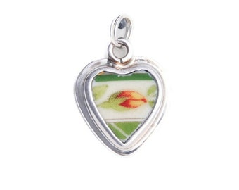 Broken China Jewelry Yellow Red Rose Bud Sterling Charm