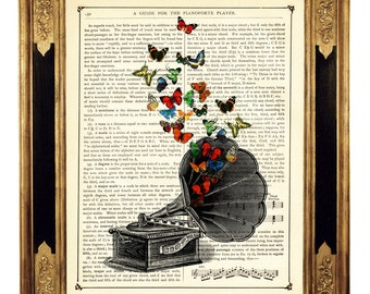 Butterflies flying out of Gramophone Music Player - Vintage Victorian Book Page Art Print Steampunk
