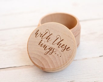 With These Rings Ring Box Keepsake Ring Box Engraved Rustic Wedding Ring Box Ring Pillow Alternative