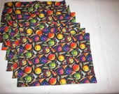 Handmade Quilted Set 6 Placemats Birthday Balloons Party Hats Confetti Stars Reversible streamers