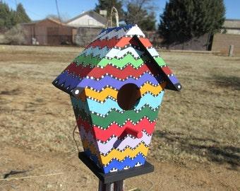 Rainbow Zig Zag Pattern Decorative Birdhouse