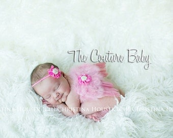 Hot Pink Rosette & Pink Feather Angel Wing and Headband 2 Piece Photo Prop Set Preemie NewBorn Infant Butterfly Fairy Wings
