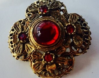 MOVING SALE Half Off Pretty Vintage Gold Tone Metal and Red Glass Brooch