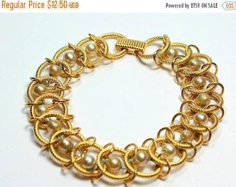 MOVING SALE Half Off Vintage Gold tone Metal Pearl Bracelet signed Goldette