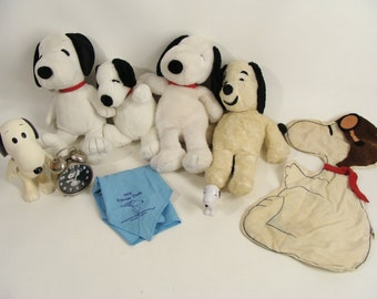 Temporarily Reduced was 48.88 lot of 9 SNOOPY Collectibles Vintage Plush,Blessing West Germany Alarm Clock, Clothespin Bag