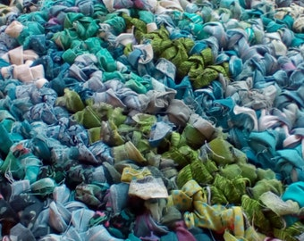 Oval Blue and Green Crocheted Rag Rug