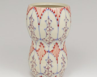 Handmade Wheel Thrown Ceramic Vase with Sky Blue, Red and Purple Pattern