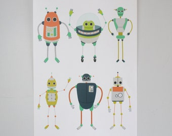 Robot Print, A3 Robot Illustrated Art Print, Childrens Bedroom Art Prints, Prints for Kids, Artwork for Boys, Robot Design